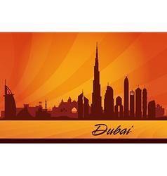 Dubai city skyline silhouette background vector image