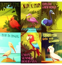 Exotic Birds 6 Posters composition Poster vector image vector image