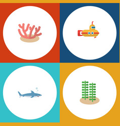 Flat icon marine set of periscope shark seaweed vector