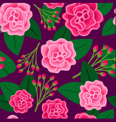 floral pattern with big pink flower vector image vector image
