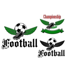 Football boot emblem with wings vector