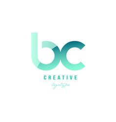 Green gradient pastel modern bc b c alphabet vector