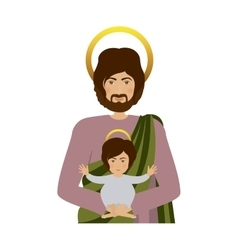 Half body saint joseph with baby jesus vector