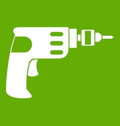 Hand drill icon green vector