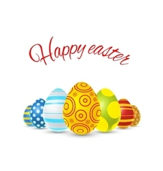 Happy easter with colorful eggs on vector image vector image