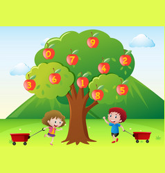 Happy kids and numbers on apple tree vector