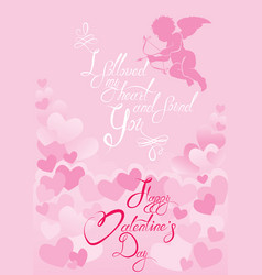 holiday card with cute angel on hearts pink vector image