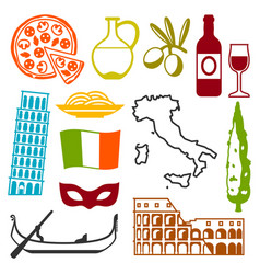 Italy icons set italian symbols and objects vector