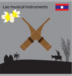 Laos national musical instrument national flower vector