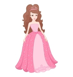 Magnificent princess in gentle pink dress with vector image