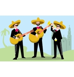 Mariachi band in sombrero with guitar vector