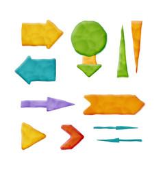 Realistic plasticine arrows vector
