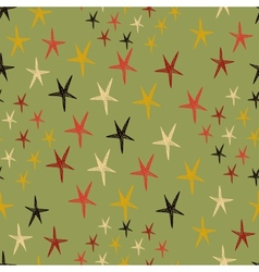 Seamless pattern with stars Endless green vector image