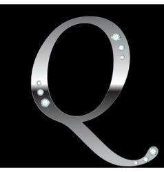 silver metallic letter Q vector image