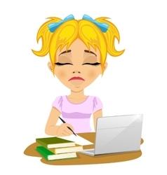 Unhappy teenage schoolgirl doing her homework vector
