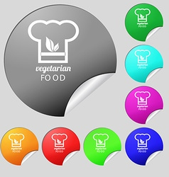 Vegan food graphic design icon sign Set of eight vector image vector image