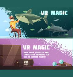 virtual reality experience horizontal banners vector image vector image