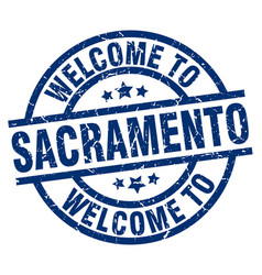 welcome to sacramento blue stamp vector image vector image
