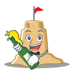 With beer sandcastle character cartoon style vector