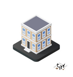 Isometric townhouse icon building city vector
