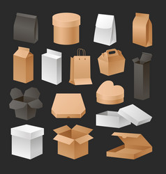 boxes 3d packages realistic set retail shipping vector image