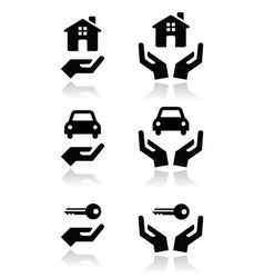 Hands house car icons vector