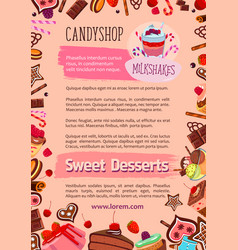 Bakery candy desserts poster for cafe vector