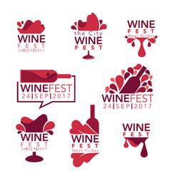 wine fest red wine bottles and glasses logo vector image