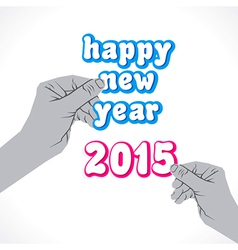 happy new year 2015 label hold in hand vector image