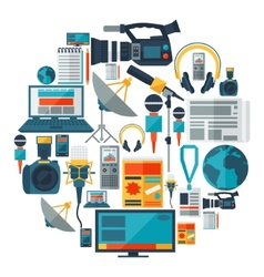 Background with journalism icons vector image