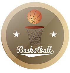 An isolated label with text stars and a basketball vector