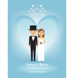 Cute cartoon bride and groom on wedding invitation vector