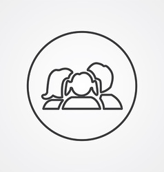 Family outline symbol dark on white background vector