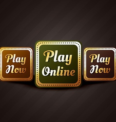 Play online casino style game button design vector