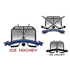 Ice hockey game sports symbols vector image