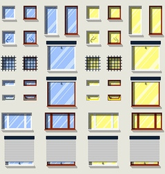 Different windows set flat exterior icons vector