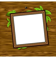Vintage baguette frame with leaves vector