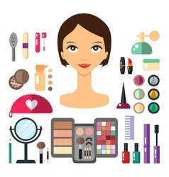 Beauty store with cosmetic objects vector