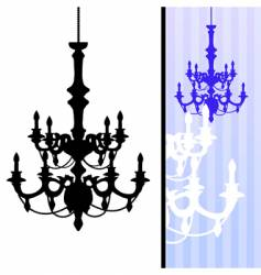 chandelier on blue striped background vector image