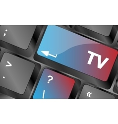 Computer keyboard keys with tv button  keyboard vector