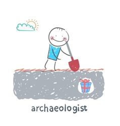 Archaeologist stands on the spot where buried gift vector