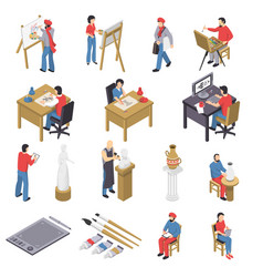 Artists and accessories isometric set vector