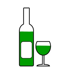 Bottle and glasse symbol icon vector image