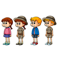Boys and girls in different costumes vector