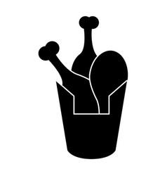 Bucket fried chicken pictogram vector