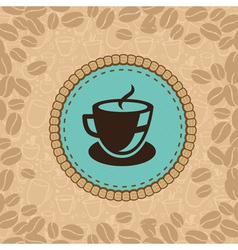 coffee cup on blue label vector image