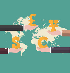 currency exchange concept with world map vector image vector image