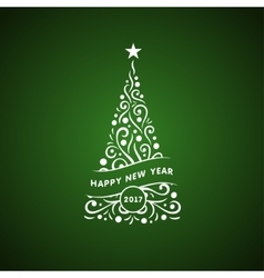 Decorative christmas tree card vector