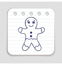 Doodle Gingerbread Man icon vector image