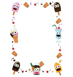 Funny Ice Cream Frame vector image